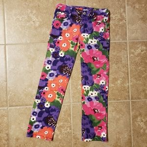 Like New Girls Bright Floral Print Stretch Jeans